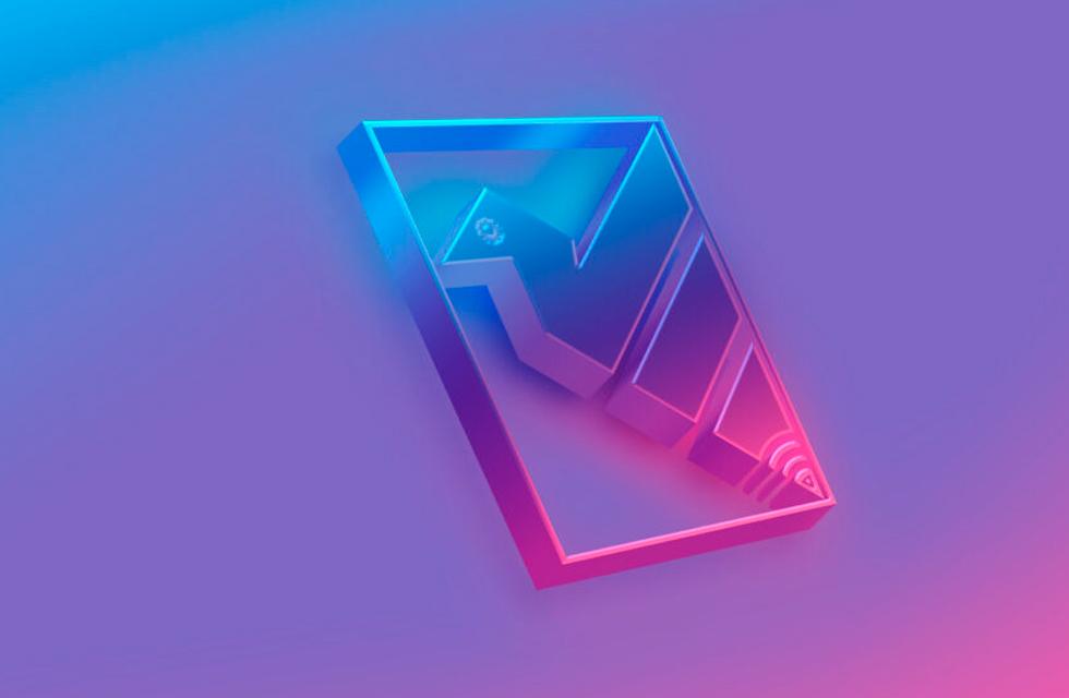 3D light effect logo design mockup