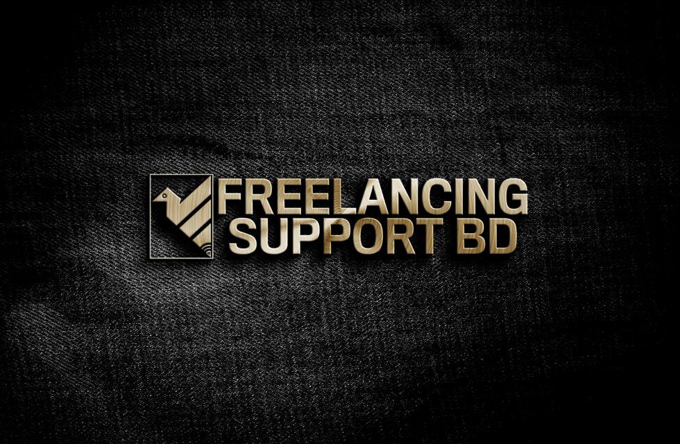 3D wodden effect black background logo design mockup